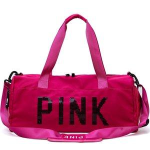 Fashion PINK letter large-capacity travel bag sports fitness bag printing handbag shoulder Duffel bags