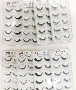 RED CHERRY 8styles الرموش الصناعية الطبيعية طويل العين جلدة تمديد ماكياج المهنية فو رمش مجنح وهمية جلدة Wispies 8 أنماط