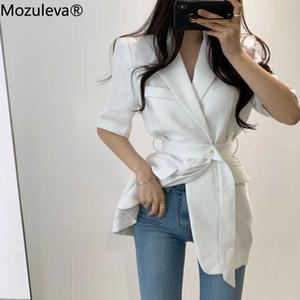 Belt ile Mozuleva 2020 Kadınlar Blazer Yaz Ofis Lady Kısa Kollu Blazers Kadın Gevşek Katı Minimalist Ceket Tops