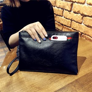 Fashion Design Black Leather Women Bag Clutch Hand Bag Wrist Envelope Bag Ladies Business Handbags Free Shipping