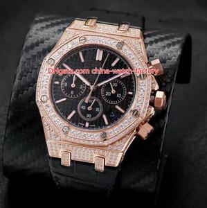 6 Stil Meistverkaufte Top Qualität 42mm Offshore Voller Diamanten Beze Armband Lederbänder VK Quarz Chronograph Workin Herrenuhr Uhren