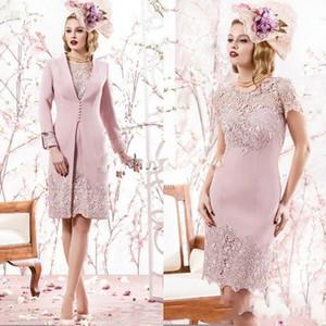 재킷 2 조각 영국 신부 드레스 네클라인 레이스 긴 소매 신랑의 어머니 드레스 2020 우아한 더스티 로즈 몸집이 작은 무릎 길이 어머니