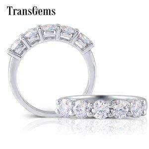 TransGems argent sterling S925 1.25CTW 4MM GH Couleur Moissanite Half Eternity Wedding Band pour les femmes anniversaire Y200620