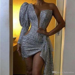 Glamour de plata de Blingbling con lentejuelas cóctel vestidos mini vestido de partido corto de la sirena de la envoltura una de las mujeres sin mangas de baile vestidos de noche