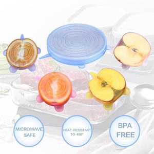 6pcs set Food Fresh Keeping Lids Durable Reusable Food Save Cover Heat Resisting Fits All Sizes and Shapes of Container Hidden Storage