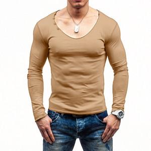 Designer Printemps Hommes T-shirt col en V Mode solides T-shirts Casual Slim Mens T-shirts