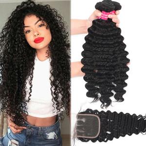 9A Brazilian Deep Wave Virgin Hair 3 Bundles With Closure 100% Unprocessed Peruvian Deep Wave Kinky Curly Loose Deep Body Human Hair Weave