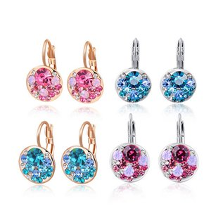 2020 High Quality 4 Colors Round Stone Zircon Earrings Fashion Jewelry Best Gift For Woman Bijou
