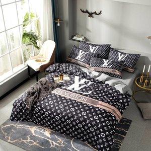 2020 L conjuntos de ropa de cama juego de tapas de edredón de diseño de dormitorio de lujo del diseñador de algodón ropa de cama de matrimonio carta de ajuste cama de diseño de impresión