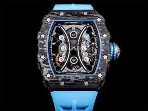 JB super uomini rm53-01 serie montre de Luxe zaffiro vigilanza della lega di carbonio vetro orologi caso + movimento (43X49X16mm) orologi di marca