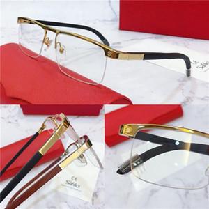 حار بيع نظارات إطار نصف إطار الإطار المعدني الساقين الخشب النظارات البصرية الرجال نماذج الأعمال الكلاسيكية 8200980