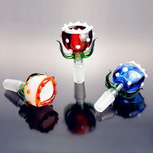 Nueva planta piraña bol de vidrio grueso vidrio Pyrex cuencos con 14mm pedazo colorido hierba del tabaco de agua Bong Bowl por fumadores pack de tres