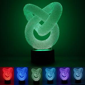 anillo tridimensional USB luz de la noche creativa nueva atmósfera de vacaciones extrañas luces acrílico dormitorio USB colorido con dormir lámpara de mesa