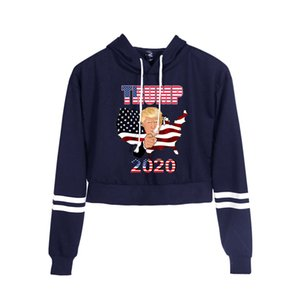 Donald Trump 2020 Printed High Waist Navel-exposed Sportswear Hooded Sweater For Women