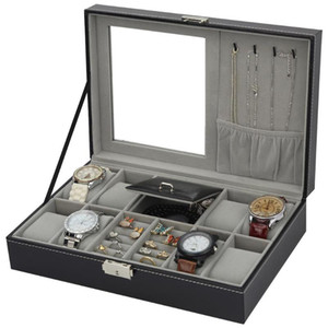 PU cuir Montre Boîte à bijoux haut de gamme Organisateur Boîte de rangement Case pour regarder Jewery ornement Boîtes cercueil conteneur Portable