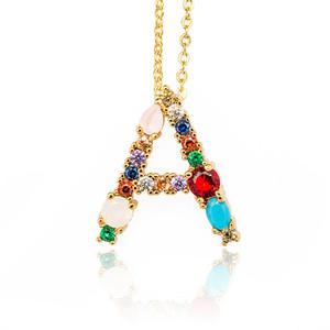 Atacado de jóias Colar cor A-Z Alfabeto Inglês inicial Colar banhado a ouro Capital Letter Moda pingente por Mulheres