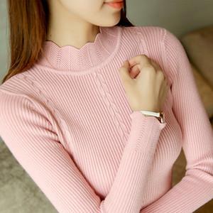 SEXMKL Женщины свитер высокой упругости Водолазка 2019 зима корейской моды свитер женщин тонкий сексуальный основывая Basic Knit