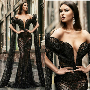 Luxury Black Mermaid Evening Dresses Off-shoulder Sleeveless Appliqued Beaded Sequins Prom Dress Sweep Train Sexy Special Occasion Gowns