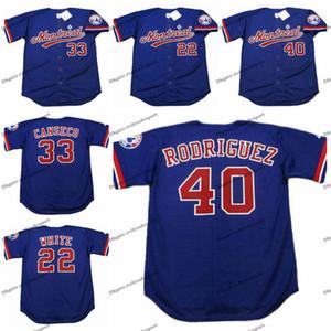 빈티지 몬트리올 엑스포스 (22 개) 론델 화이트 (40) HENRY RODRIGUEZ 33 호세 칸세코 야구 유니폼 저렴한 화이트 블루 스티치 셔츠