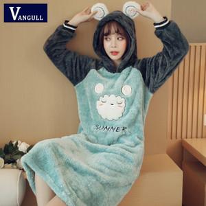 Mujeres Coral terciopelo vestido Otoño Invierno pijamas ropa de noche caliente lindo Ovejas patrón del oso Animal Sudaderas Vestidos VANGULL 2018 es Nueva Y200102