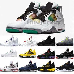 Новый Rasta 4 Неон 2020 Mens Basketball обувь суд Фиолетовый Красный Зеленый Оранжевый Metallic Black Cat White Cement Royal Что 4s корзины кроссовки