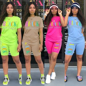 Summer Women Designer 2 Piece Short Sets Clothes Casual Tracksuit Short Sleeve T-Shirt Biker Shorts Suits Sportswear 4 colors