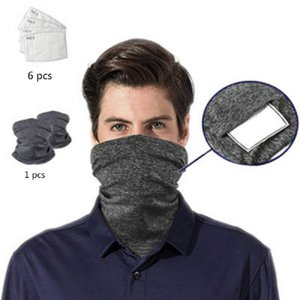 Multi-usages Bandanas anti-poussière Neck Gaiter avec des filtres de sécurité, Lavable unisexe, pour les festivals Hommes / Femmes Sport Plein air