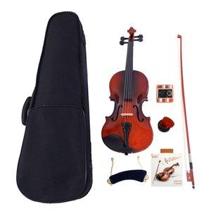 4 4 Full Size Acoustic Violin Case Bow Rosin Strings Tuner Shoulder Rest Natural Musical Instrument