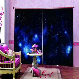 Photo Custom 3 D Window Curtain Digital Print For Living room kid's room Stars Blackout Drapes Decor Sets (Left and Right Side)