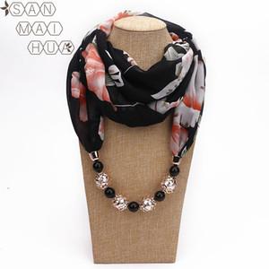 Multicolor en mousseline de soie perlée Imprimer Pendentif écharpe élégante Lady Collier FOULARD Châle Femme musulmane chaud Hijab Echarpes Bijoux