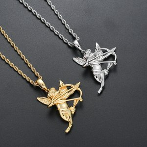 Brass Angel Pendant Iced Out Necklace Hip Hop gift Jewelry CN210