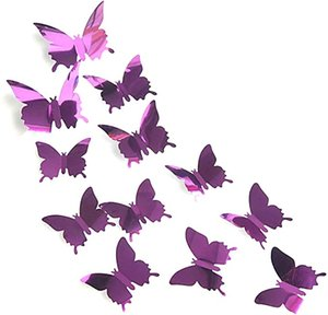12Pcs Set 3D Mirror Effect Butterfly Wall Stickers Art Decor Decals for Home Bedroom Livingroom Decoration or Party Decoration