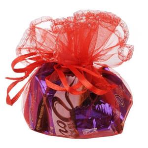 100 pz / lotto 40x40 cm Rosso / Viola / Rosa Rotonda Organza Borse Con Coulisse Sacchetti Per La Festa Di Natale Candy Regalo Sacchetto Dei Monili