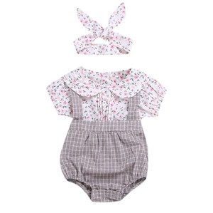 2019 kids clothing Summer new ins baby Jumpsuit kids  clothes girls romper+headband 2pcs set baby girl clothes BY0826