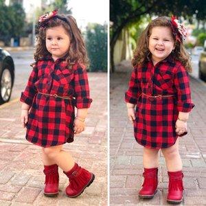 İlkbahar Yaz Kız Çocuk Giyim Şık Uzun Kollu Ekose Baskı Turn Down Yaka Tasarım Kız elbise + Kemer Kız Şık Dressess