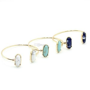 Fashion Low Price Kendra Geometric Oval Turquoise Stone Cuff Bangle Bracelet Earrings Marble Stone White Blue Green For Women