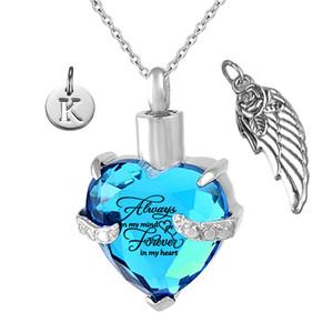 Her zaman kalbimde Angel Wing ve Birthstone Mart Kristal Charm kremasyonu Keepsake Memorial Semaverler kolye içinde