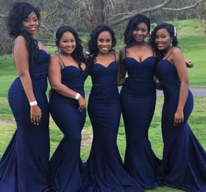 Сексуальные Navy Blue Bluesmaid платья для свадьбы Гостевая партия Дешевые ремни с возлюбленной шеей плюс размер формальных платьев для африканских черных девушек
