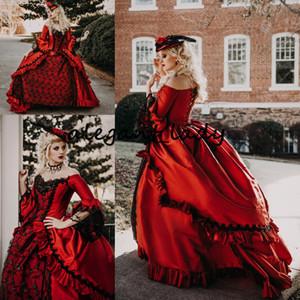 Vermelho preto Marie Antoinette Vitoriano Gótico Vestido de Noiva Traje retro Vintage Lace-up Espartilho Plus Size Vestidos de Noiva