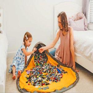 لعبة تخزين حقيبة الرباط لعب الاطفال منظم بن جولة صندوق بساط اللعب بطانية البساط SlideAway لعبة التنظيف وتخزين الحاويات LXL925A-1