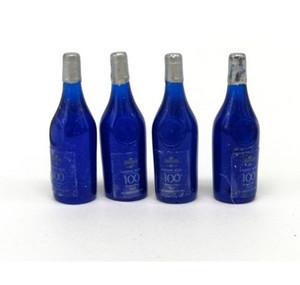 1:12 Miniature 4 pcs Blue Wine Bottles Dollhouse Kitchen Accessories