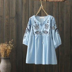 2019 verão bordado camisa da boneca denim colarinho rodada lanterna bordados rendas boneca rendas Top manga solta mulheres de duas cores