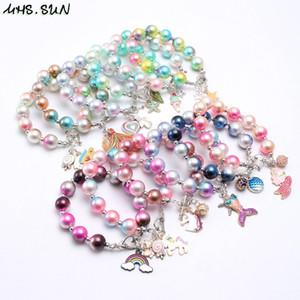 INS 12 Arten Kinder Schmuck Armband Bunte Perlen Liebesherzregenbogen-Charme-Armband nette Prinzessin Armband für Mädchen Schmuck Geschenk