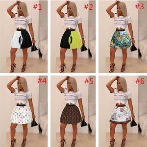 Las mujeres falda plisada Diseño Marca Impreso Mini faldas de cintura alta Sobre la rodilla vestido de fiesta de la falda corta del club vestidos de moda Faldas Ropa