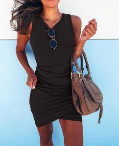 Dress Slim Solid Color Sexy Female Clothing Womens Designer Bodycon Dresses Fashion Sleeveless O Neck Ladies