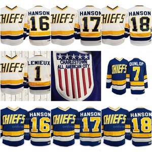 Disparo Hanson Hermanos jerseys Steve Jeff Jack Dunlop Reggie Denis Lemieux 1 de Dave Killer Charlestown Jefe palmada de hockey Jersey