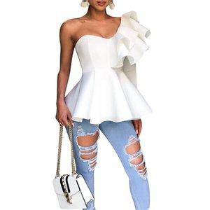 Asymétrique à volants femmes T-shirts Slim Big Swing Solid Color Vestidos Femmes Designer Fashion Party T-shirts Tops