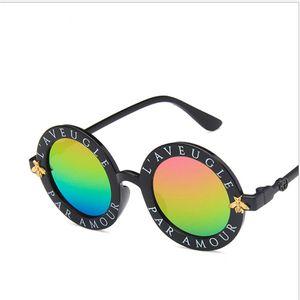 Novos óculos de sol abelha das crianças rodada moda criativa das crianças óculos de proteção UV óculos de presente por atacado caixa de meninos e meninas de qualidade s