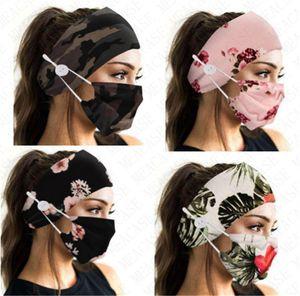 Маска для лица держатель ободки с кнопки Hairband Tie Dye Face Mask Цветочные Камо Маски Женщины Спорт Йога Эластичные ленты для волос аксессуары D8503