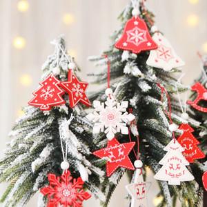 1lot / 12pcs enfeites de Natal branco Red suspensão de madeira Pingentes Anjo de neve de Bell Elk Estrelas Decorações de Natal para Casa